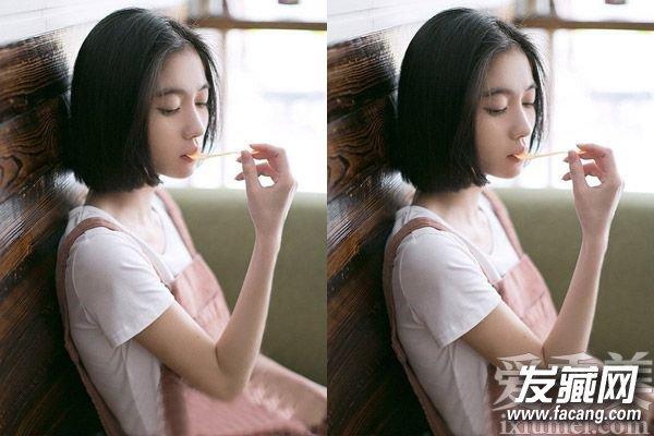2015短发发型图片女 中分刘海短发显瘦图片