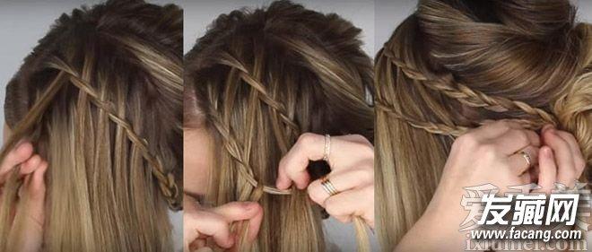 第八步:开始编第二层瀑布辫子,按照刚才的方法编发.