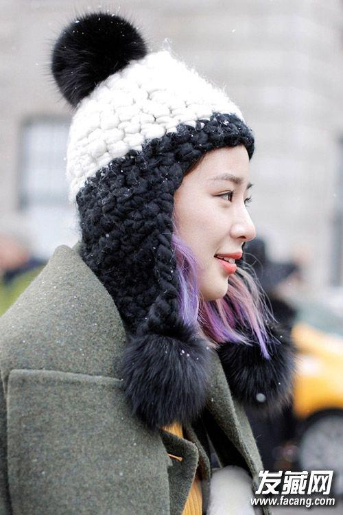 黑长直变得动感帅气起来 学唐嫣郭碧婷戴帽子发型好潮(5)