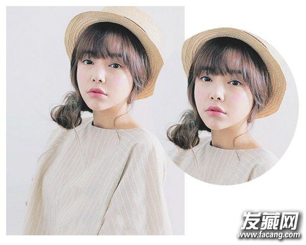 双马尾与齐刘海的完美邂逅,柔顺的发丝与发型搭配后完美的披肩