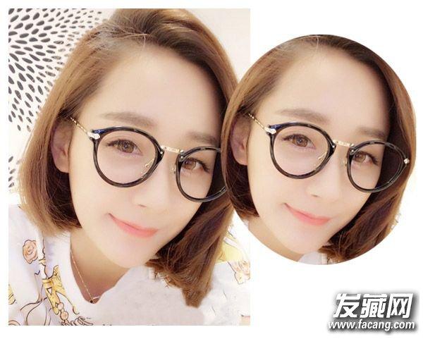 女生戴眼镜适合留什么发型四 简约的低马尾扎发搭配上可爱的眼镜不仅