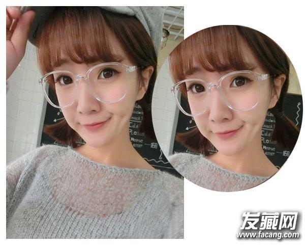 马尾发型 ,空气刘海与眼镜搭配起来,更加显露出可爱呆萌的一面来,齐平