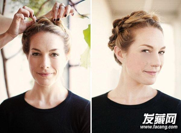 步骤4:开始编织麻花辫,每一边都绑好后,把左边的麻花辫划到右边,右边的麻花辫放到左边;    步骤5:最后再用黑色发夹固定住每个发辫,一个看来优雅又俏皮的挤牛奶女工