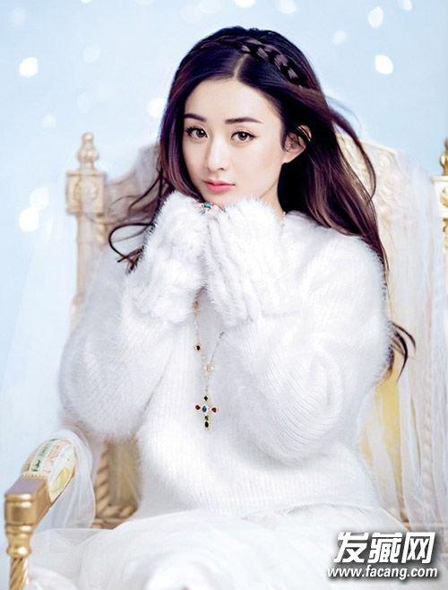 赵丽颖扎半扎发 做冬日小公主(5)图片