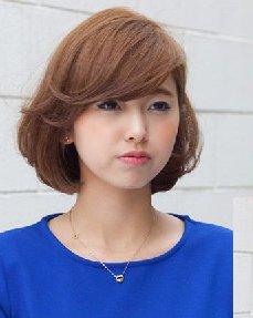 圆脸适合发型图片 波波头卷发的刘海设计