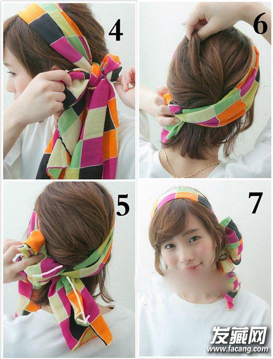 大风天怎么扎头发 4款丝巾发型保暖又时尚(4)