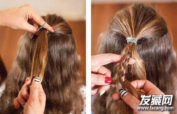 1,先将头顶的头发抓起一些,用发绳绑好,再在发辫中抓出一小部分图片