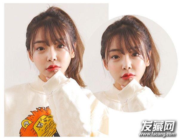 好看 精致的圆脸马尾发型设计(2)  导读:扎马尾三 作为清新的学生发型图片