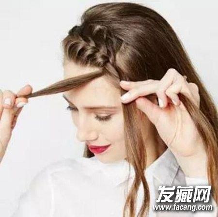 用夹子将头发夹在头顶备用.
