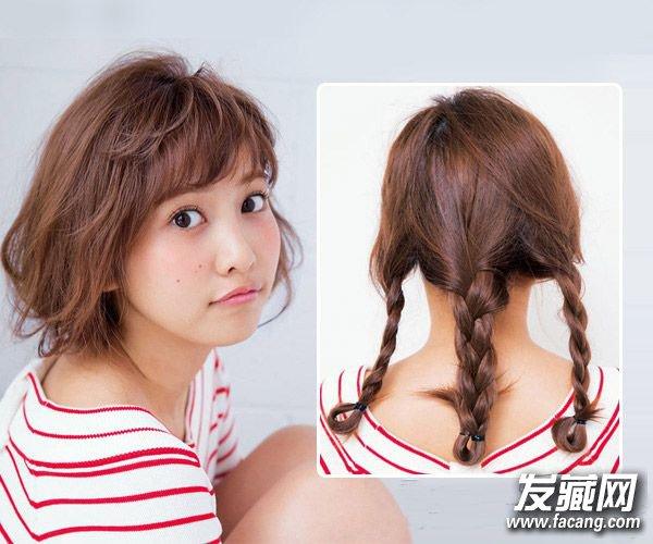 知性成熟俏皮可爱发型 这样扎头发短发感觉(3)