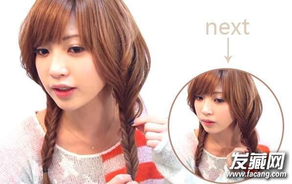 鱼骨辫编发教程 简单辫子发型可爱加倍(5)