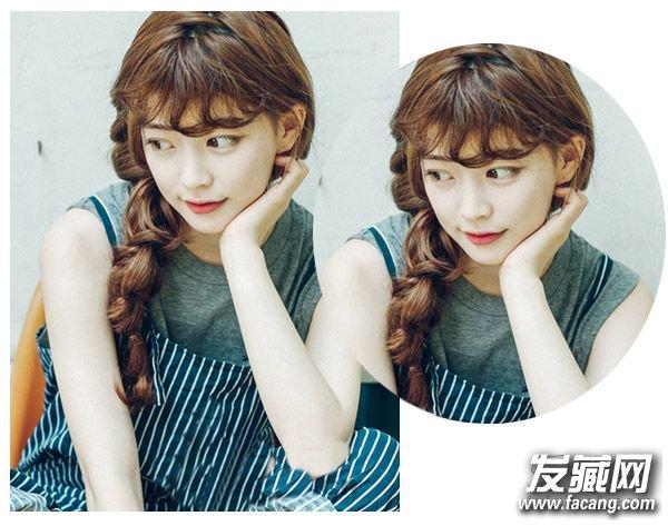 圆脸编发四   优雅的气质是女人味的体现,不对称的侧边编发发型加上侧边编发的处理,整个造型带给人优雅与知性的美感。    圆脸编发五   清新的略带日系风格的一款双麻花辫编发发型,蓬松的
