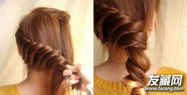 步骤5   5.一直扭到头顶处垂下的发尾,也将其加进去,接着把左边剩下的头发加入进去   步骤6   6.接着剩下的头发继续扭,此时发股会越来越大,一直编至发尾处,收尾。    步骤7   7.接着将发尾由下至上翻转上去,用黑夹子固定好发尾处,最后调整一下整体造型。