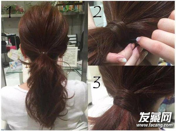 剩下的55秒就将一束马尾中的头发拉出,沿着马尾转一圈固定,也能让发型图片