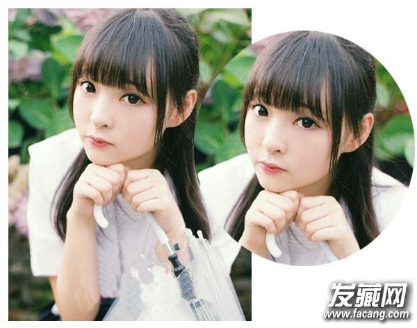 空气薄刘海配合高马尾 学生妹这样扎头发可爱翻倍(2)图片