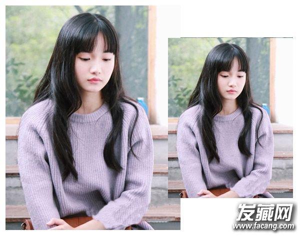 微显厚重感的齐刘海发型 可爱发型专为大学生准备图片