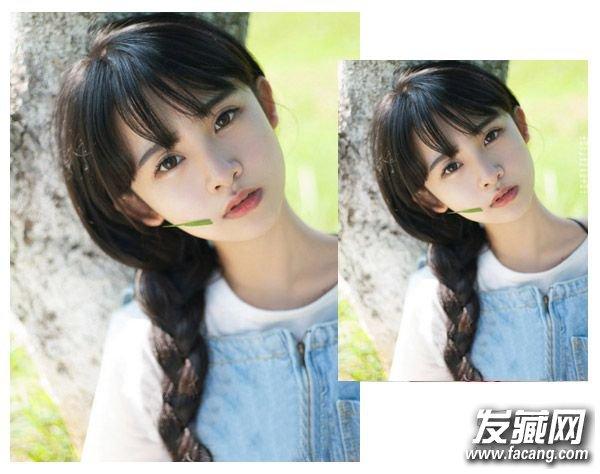 > 圆脸怎么扎头发显瘦 圆脸适合扎什么发型(4)       空气刘海与双图片