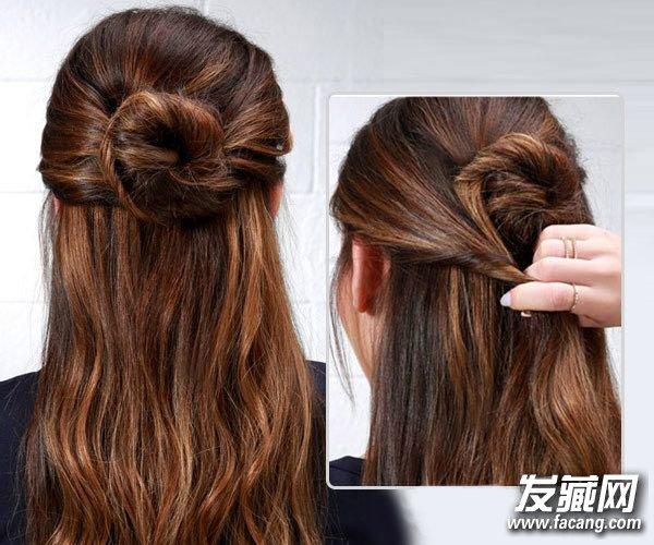 韩式丸子头扎法图解 →半扎丸子头发型扎法图解 半丸子头的扎法图