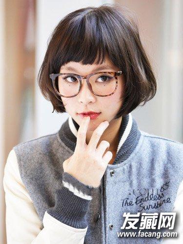 栗色短bob 发型二:适合戴眼镜妹子的短bob 发型三:个性妹子最爱黑灰色图片