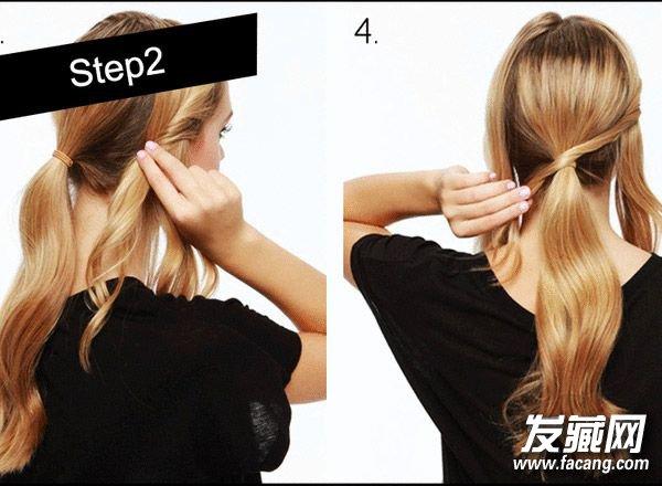 周二优雅低马尾    同样将头发分为三部分,将中间部分的头发梳个低马尾。    将两侧的头发向内卷曲,并有发夹夹在后脑勺位置,打造更加隐形的效果。    将两侧的头发缠绕在马尾固定处,并用发夹作为固定。    简单随意的低马尾造型就OK了,别看这款