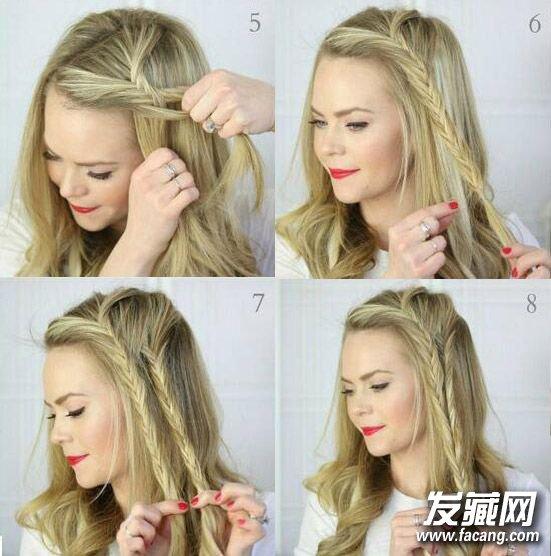 5种编发方法图解(5)  导读:step5:不断重复步骤三,四,向下编织鱼骨辫.