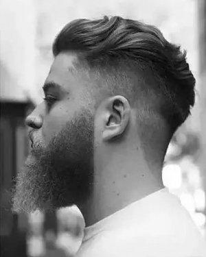超时髦男士发型发式 浪形背梳+侧面渐变式