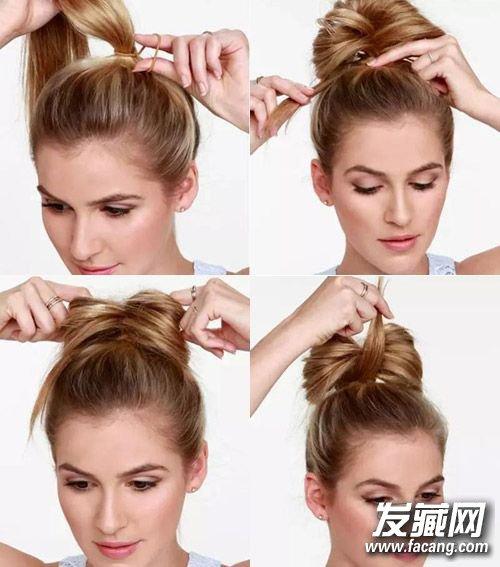 丸子头的扎法图解(4)  导读:四,蝴蝶结丸子头 第一步:将全部头发梳起图片