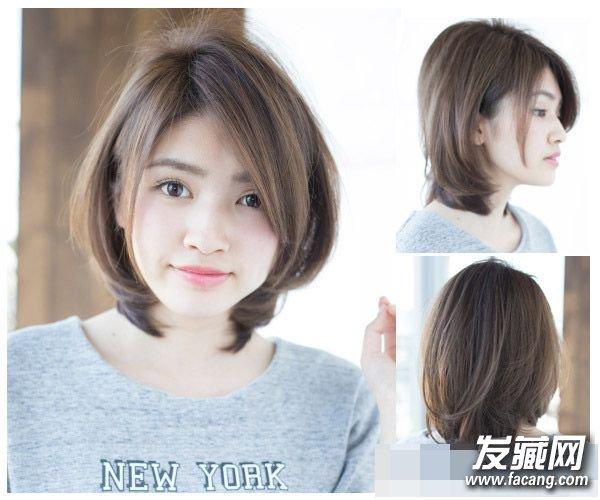 斜分刘海有修饰脸型的作用,后面头发塞耳后再加上层次处理,让短发图片