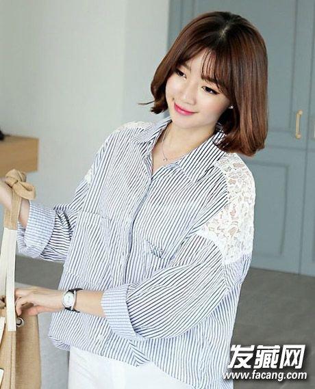 搭衬衫真心养眼呢,八字刘海+s型括号头设计,时髦抢镜 →什么短发最图片