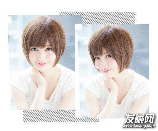 短发利用斜刘海搭配两边鬓角头发轻松修颜瘦脸,让妹纸拥有可爱的小颜.