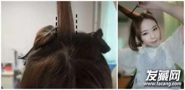 编发发型教程      同样是中分发型,将刘海向上对折成猫耳朵发型也很图片