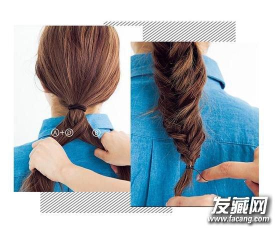 step 3:将C发束跟B发束结合在一起。   step 4:在B+C发束的边缘去小发束D往A发束方向走。    step 5:发束A跟发束D结合在一起。   step 6:重复步骤2到步骤5,将头发编到发尾,用橡皮筋固定,就完成这款简约大气的鱼骨辫造型了。