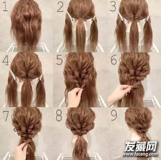 夏天了,很多女生都开始编辫子了呢,太复杂的编法可能自己一个人搞不定,爱秀美小编为大家准备了3款简单好看的编发,浪漫美丽不求人。    发辫×马尾1   第一步:把头发梳过一遍。   第二步:把头发分成三等份,分别是脸颊旁的两侧头发,以及后脑杓比较多量的头发,并先把中间的发束绑起来。   第三步:将中间的发束在发圈上方的位置稍微用手指拉出一个洞,接着把发束由下往下经过刚刚的洞拉出来,这个步骤在接下来4个DIY都会用到,要记清楚喔。   第四步:接着我们把头顶的头发稍微拉一点点出来,让它不要