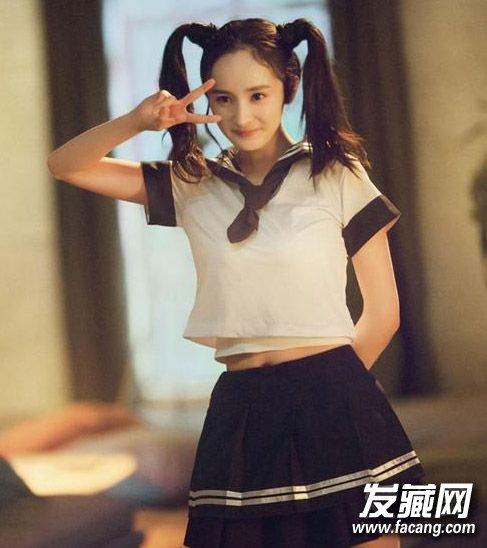 颖儿刘亦菲谁的学生妹发型更好看 颖儿校服(3)