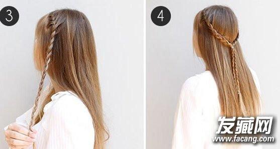 编到耳朵上方的位置,就不要再加新的头发了,按照三股辫方式往下编到发