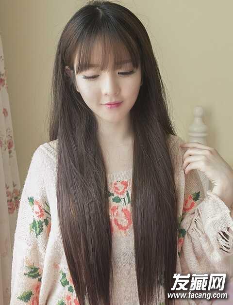 空气刘海长直发发型图片 空气刘海款长发直发发型图片图片