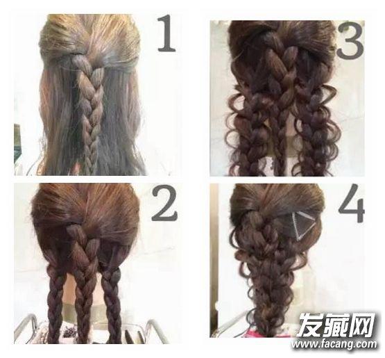 第一款 空气花边发辫    Step 1:将头发分为上下两层,上层头发拢到脑后并编一条三股辫至发尾。   Step 2:下层头发分为左右两边分别编三股辫至发尾。   Step 3:将左右两边的发辫拉出空气质感的花边。   Step 4:最后将三条发辫拼在一起并用钢丝夹固定。可以在边上别上精致的发卡,这样更吸睛哦。   第二款    Step 1:分离出左右两边的头发,然后用小皮筋松松的绑好。   Step 2:分别将发尾向上从绑好的发束中间穿过。   Step 3:左右及中间三束头发开始编三股辫至发尾