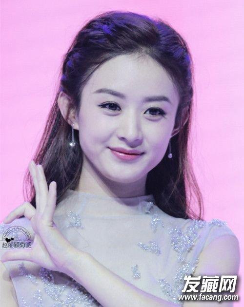 赵丽颖发型,可爱系的编发公主头,刘海+公主头甜美俏皮,瞬间显小