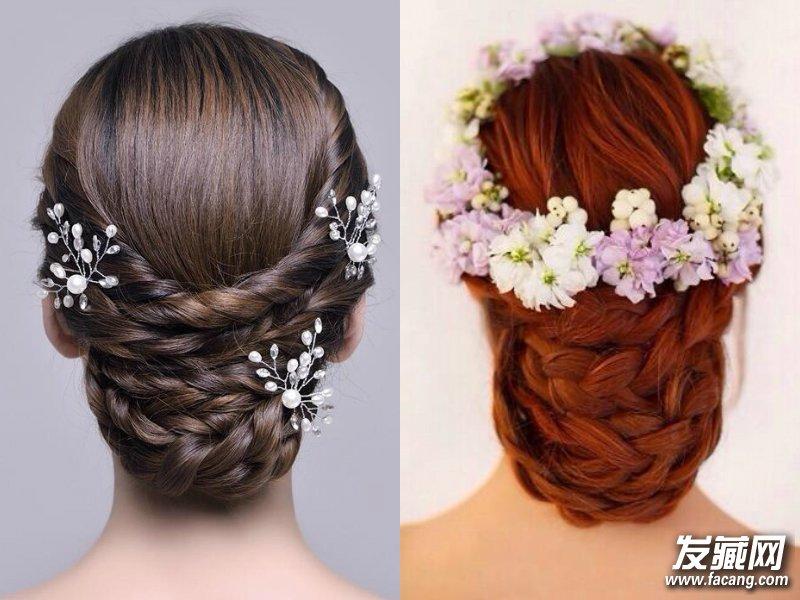 进行韩式麻花辫盘发之后,整体发型更是亮眼,紫白相间的花环落在头顶